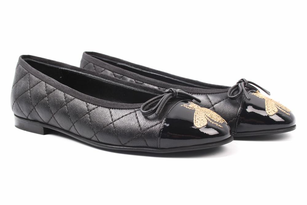 Балетки женские Mario Muzi натуральная кожа, цвет черный (каблук, стильные, Турция)