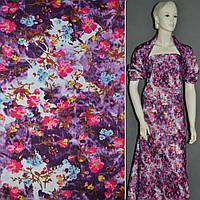 Поплин фиолетовый белый с малиновый цветами ш.150