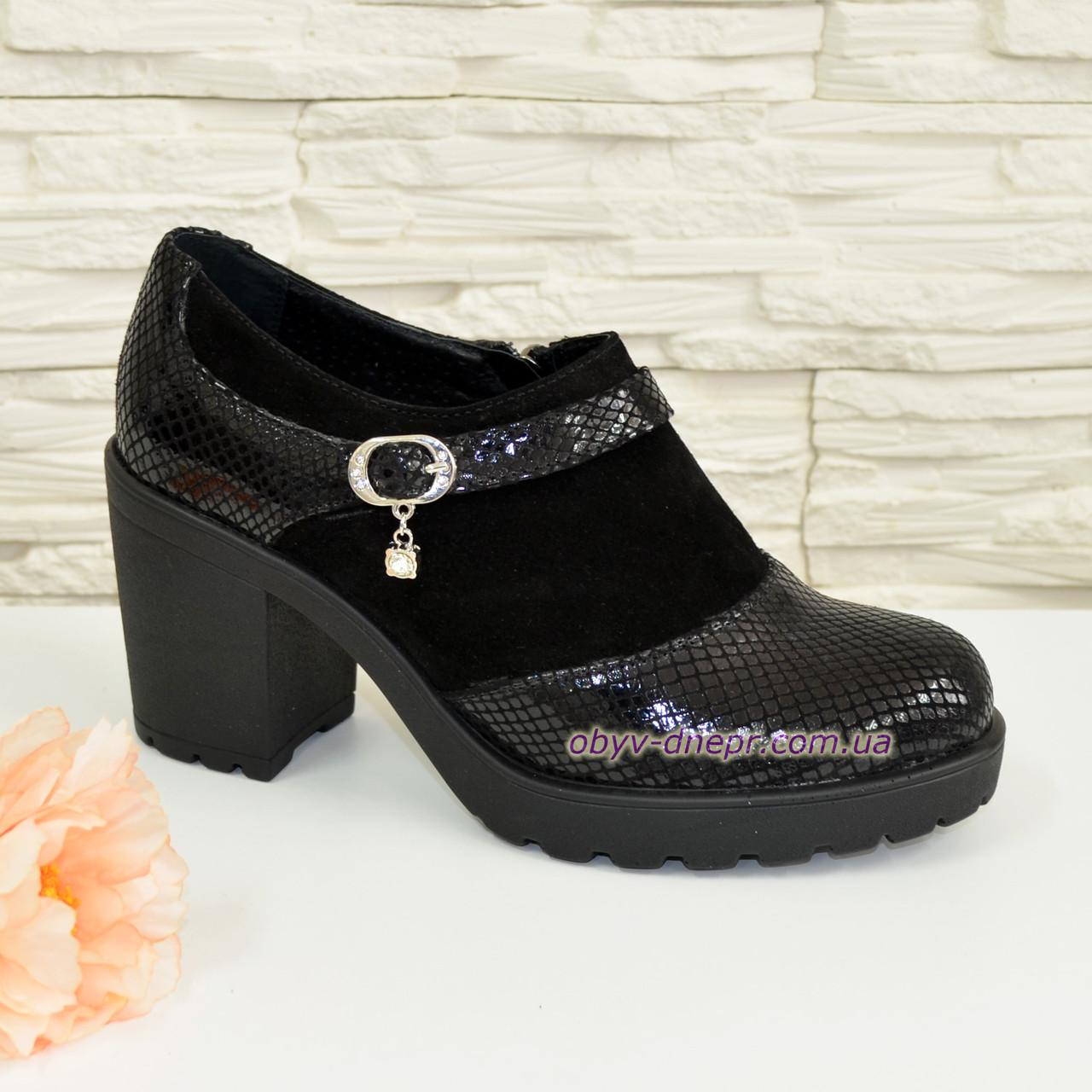 Женские черные замшевые туфли на невысоком каблуке
