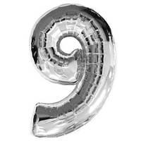"""Шар цифра """"9"""". Цвет:Серебро. Размер: 80см."""