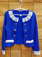 Нарядный пиджак-болеро для девочки 134,140,146,152см электрик