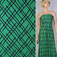 Поплин хлопковая ткань хлопок зеленый изумрудный в синие линии ш.150 ткань
