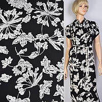 Поплин хлопковая ткань хлопок черный в белые большие цветы ш.147 ткань