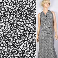 Поплин хлопковая ткань хлопок черный в белый мелкий цветок ш.150 ткань