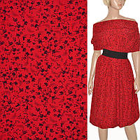 Ткань для платья поплин красный с черными цветами (принт) ш.150