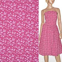 Ткань для платья поплин ярко розовый с бел. цветами (принт) ш.150