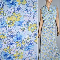 Поплин белый в желтый голубые цветы ш.145 см.