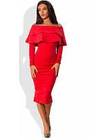 Оригинальное платье миди из плотной замши красное