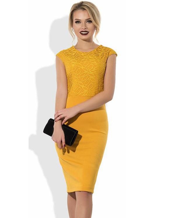 d8882bf0398 Стильное Желтое Платье Миди с Верхом Из Гипюра — в Категории