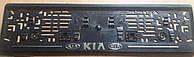 Рамка под номер с металлической надписью KIA (КИА),  Рамка Черная