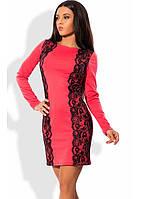 Элегантное платье коралловое с кружевом
