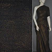 Батист ткань черный с абстрактный вышивкой и золотая напыл ширина 140 хлопок хлопковая натуральная