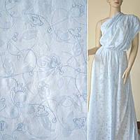 Батист ткань деворе светло фиолетовый с серым с розами и вышивка ширина 150 хлопок хлопковая натуральная