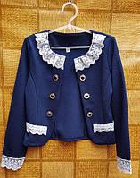 Нарядный пиджак-болеро для девочки 134, 140 146, 152см темно-синий