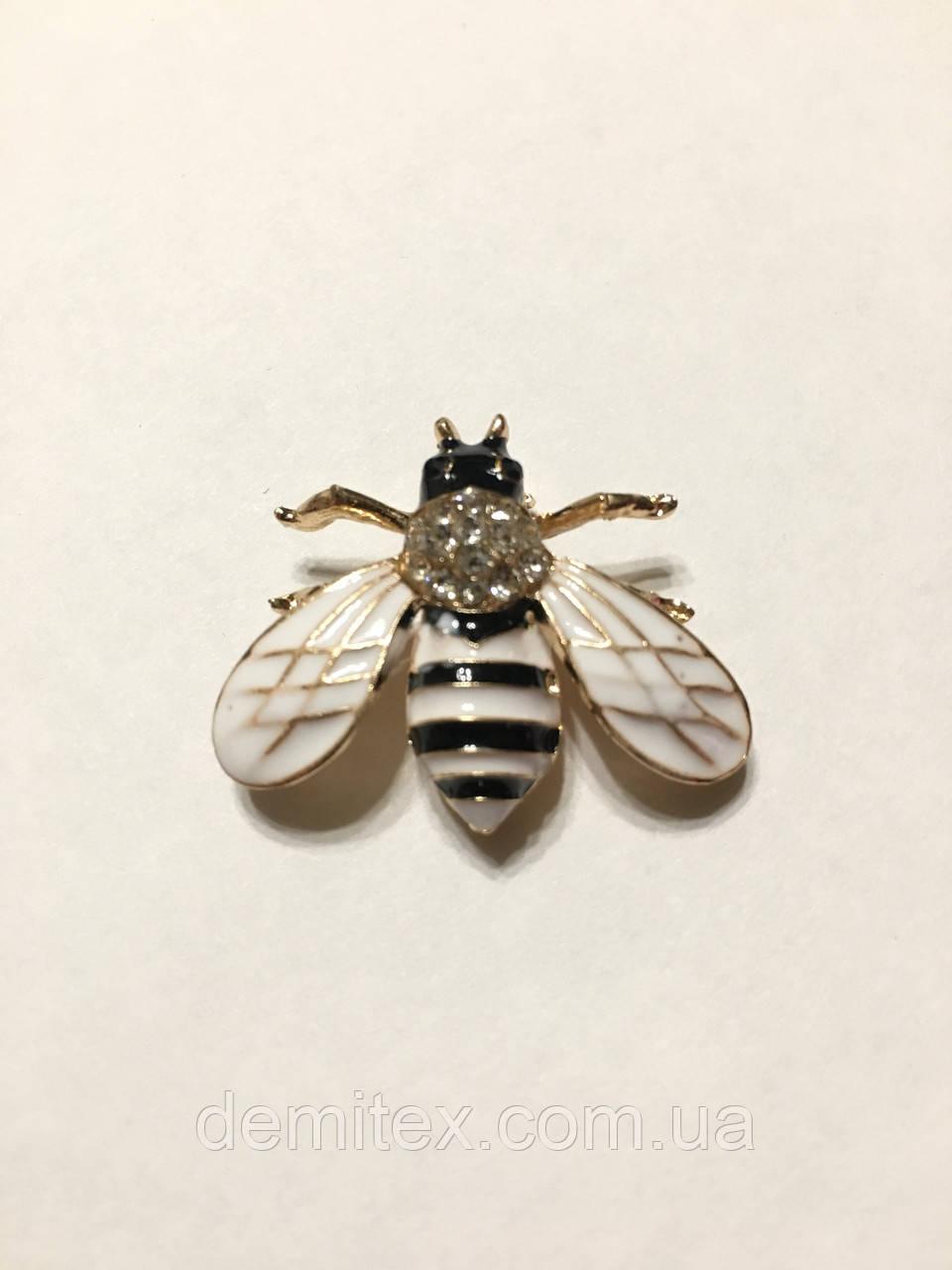 Брошь-булавочка Пчелка черно-белая