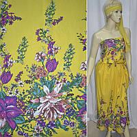 Батист хлопковая ткань желтый, двухсторонний купон разноцветные цветы ш.140