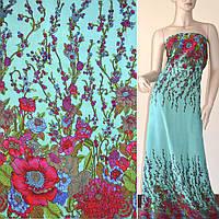 Батист хлопковая ткань светло зеленый с двухсторонним бордово синим купоном цветы ш.140