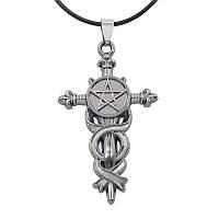 Готический кулон крест с пентаграммой
