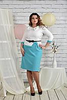 Белое с голубым платье 0440-3