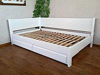 """Белая полуторная деревянная кровать с ящиками """"Шанталь"""""""