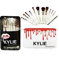 Набор кистей для макияжа KYLIE Professional Brash Set в металлическом кейсе (белые, 12шт.)