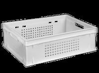Ящик пластиковый 600*400*200  белый перфорированный, фото 1