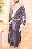 Мужской махровый длинный халат на запах Код софт 103