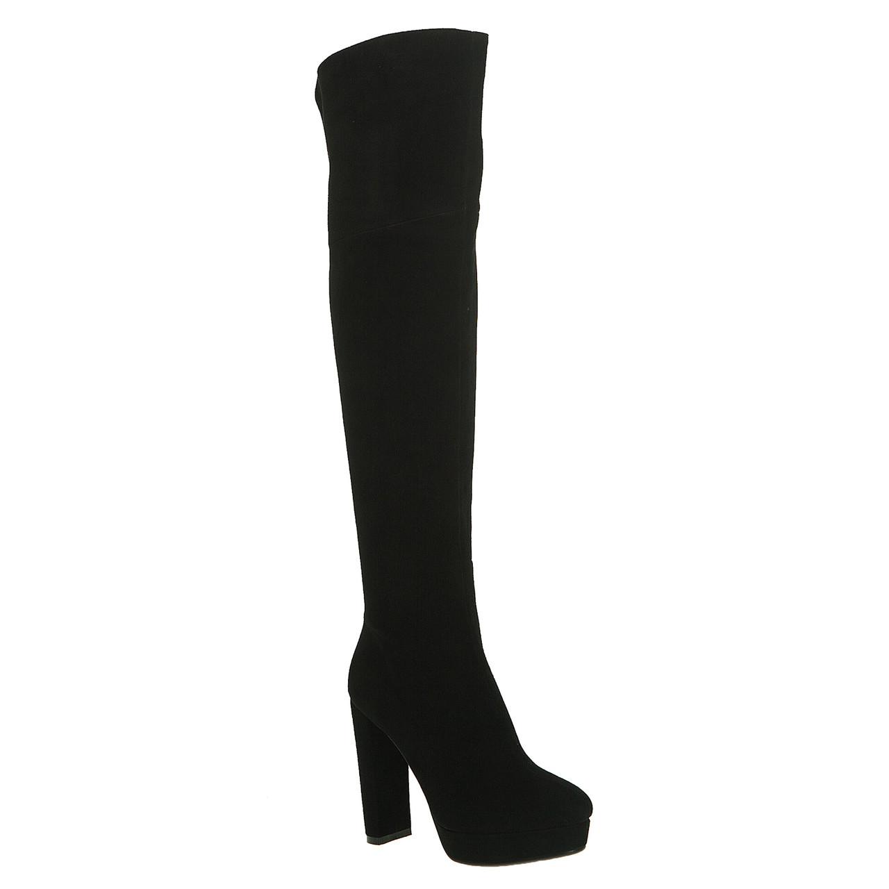 Ботфорты женские Brocoli (черные, замшевые, изысканные, стильные)