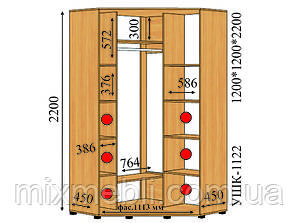 Угловой шкаф-купе 1,2*1,2*2,2 (ушк-1122)