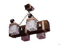 Люстра из дерева подвесная балка на цепях на четыре стеклянных плафона