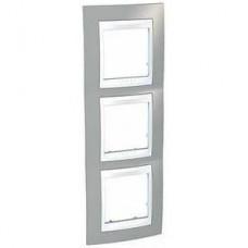 Рамка Schneider-Electric Unica Plus 3-поста вертикальная туманно серый / белый MGU6.006V.865