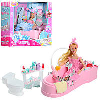 Мебель для кукол барби ванная комната с куклой 99048: ванная с душем (льется вода)