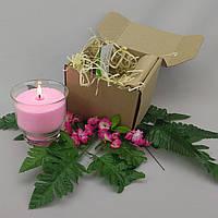 Подарочный набор розовая насыпная свеча 9 см