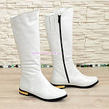Белые кожаные сапоги на меху. , фото 2