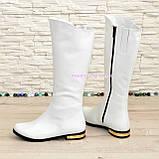 Белые кожаные сапоги на меху. , фото 3