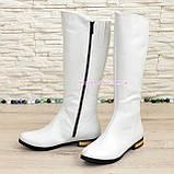 Белые кожаные сапоги на меху. , фото 4