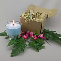 Подарочный набор голубая насыпная свеча 9 см