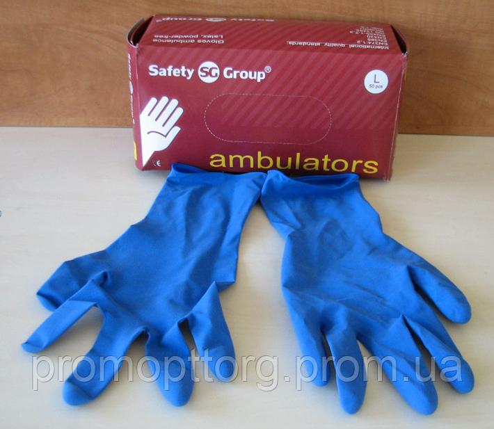 Перчатки синего цвета из латекса неопудренные, Размер: M, PRC /71-0
