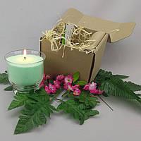Подарочный набор салатовая насыпная свеча 9 см