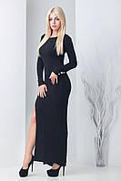 Женское длинное платье с разрезом Паркер черный (42-44)