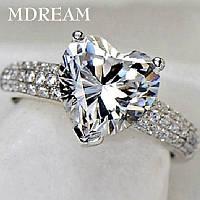 Прекрасное кольцо Сердце, покрытие серебро 925 пробы