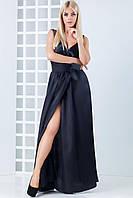 Женское атласное платье в пол Фелина Чёрный, 42-44