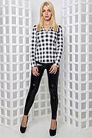 Женская клетчатая блуза Кали Белый/чёрный, 42-44
