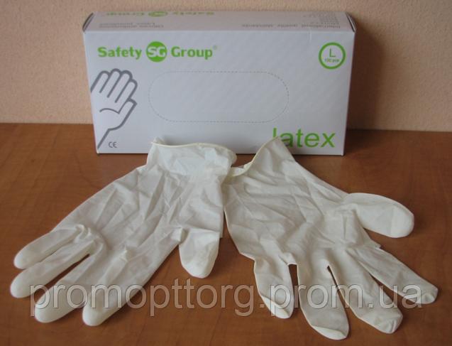 Перчатки белго цвета из латекса опудренные, Размер: L,Упаковка: 100 шт. PRC /0-58