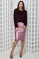 Женская кожаная юбка Скей 3 розовый (42-44)