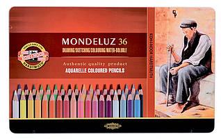 Акварельные цветные карандаши Mondeluz 36 цветов подарочные Koh-i-Noor
