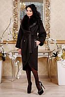Женское зимнее пальто из кашемира с песцом 44-54р  кофе