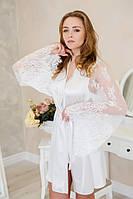Халат для невесты атласный с кружевным рукавом Белый