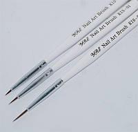 Набор кистей д.рисован.(3 шт. бел ручка)