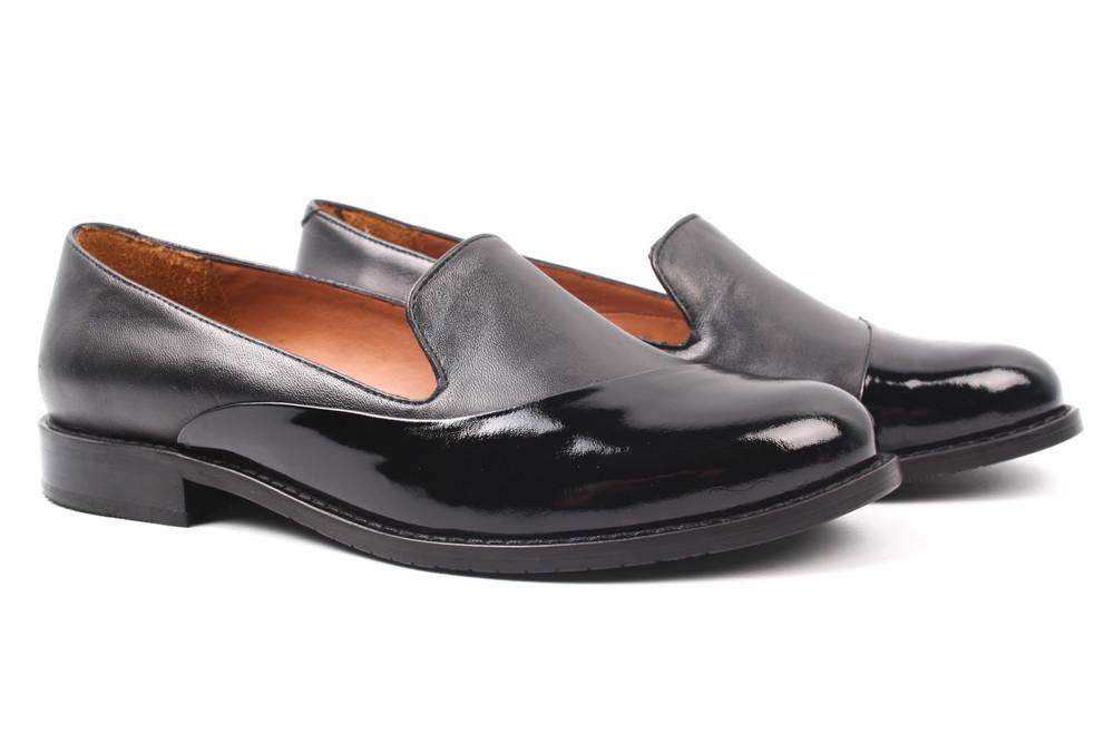 Туфли женские Donna Ricco натуральная кожа, лаковая кожа, цвет черный (каблук, стильные, комфорт, Турция)